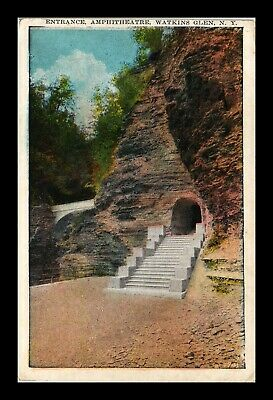 Dr Jim Stamps Us Postcard Amphitheatre Entrance Watkins Glen New York