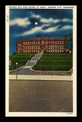 Dr Jim Stamps Us Postcard Science Hill High School Johnson City Linen Creased