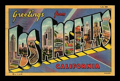 Dr Jim Stamps Us Postcard Greetings From Los Angeles Large Letters Linen