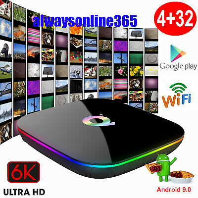 Q plus 6K 4+32G Android 9.0 Pie Smart TV Box Quad Core WIFI Media Player HDMI AU