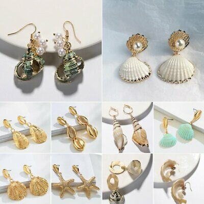 Vintage Women Boho Natural Pearl Shell Conch Bohemia Earrings Dangle Drop Party