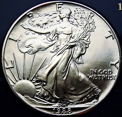 1988 Silver American Eagle BU 1 oz Coin US $1 Dollar U.S. Mint Uncirculated *988