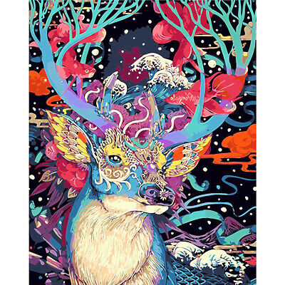 Chic Colorful Deer Canvas Paint By Numbers Kit Oil Painting Kit DIY Art