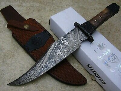 DAMASCUS BOWIE KNIFE File Worked Finger Guard and Tang Full Tang Custom Sheath