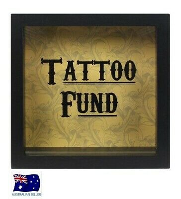 Black Tattoo Fund Glass Money Box Cabinet With Wooden Frame