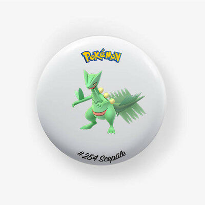 Chapa Sceptile #254 : Pokemon Go , Pinback Button Badge 1.50 Inch (38mm)