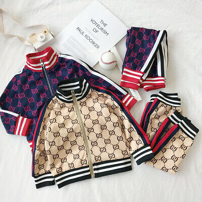 2pc Kids Boys Girls Tracksuit Toddler Tops Shirt+ Pants Outfits Sets Casual Suit