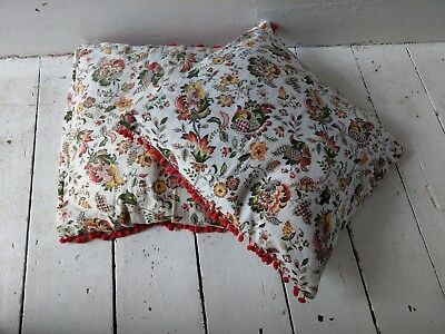 Vintage Retro Stunning Unique Pair Of Large Cushion Cushions Covers Pom Poms
