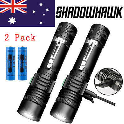 2pcs 20000lm Shadowhawk T6 LED Flashlight USB Rechargeable Portable Torch