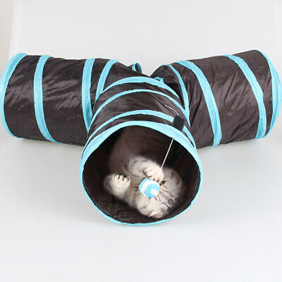Hot 3 Way Cat Tunnel Pet Interactive Puppy Tube Kitten Play Toy Rabbit Hides