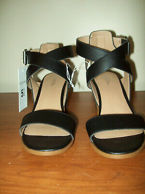 61f8195261fd Merona For Target Women s Lindsay Sandals - Black Wedge Heels Size ...