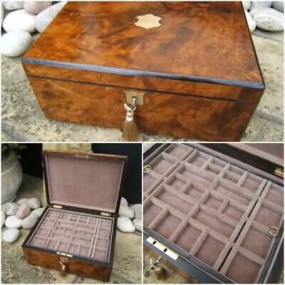 Lovely Large 19C Victorian Figured Walnut Antique Jewellery Box - Fab Interior