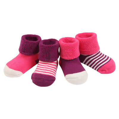 4 Pairs Baby Boy Girls Winter Thicken Cotton Stripes Dots Terry Socks