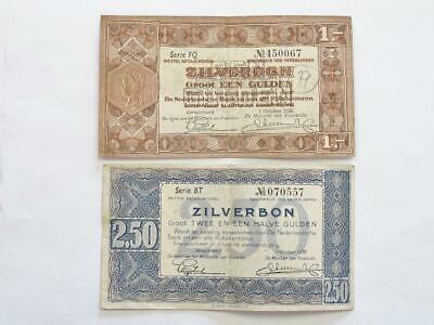 Lightly Circulated 1938 Netherlands One And 2.50 Gulden Combo