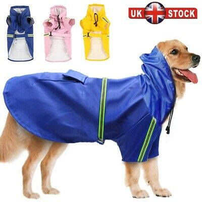 Waterproof Pet Dog Coat Jacket Vest Raincoat Clothes Dog Rain Coat Reflective UK