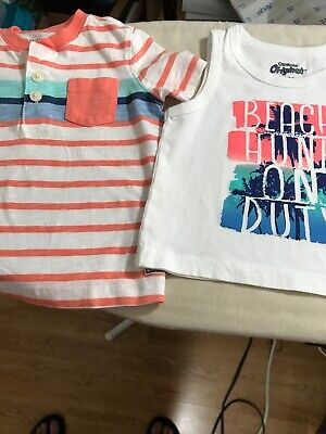 Oshkosh 12-18 Months Boys Lot of 2 Tops ShortSleeve & Sleeveless Worn Maybe Once
