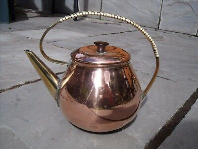 Arts & Crafts Copper & Brass Tea Kettle or Teapot with Rattan Handle.