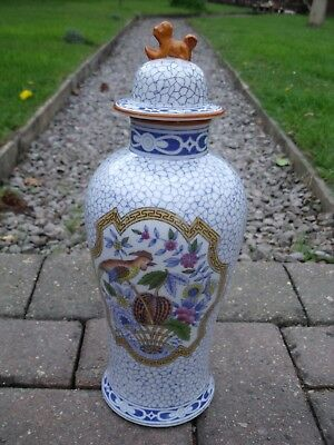 Chinese Export Vase with Foo Dog lid & Bird & Floral  decoration.