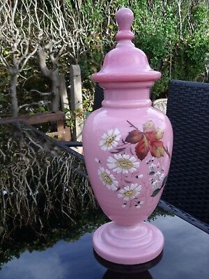 Antique Pink Opaline Glass Vase with Cover/Lid - Hand Painted Flowers and Leaves