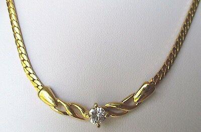 collier bijou vintage couleur or maille serpent solitaire cristal diamant 348