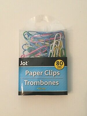 """BAZIC Vinyl Coated Jumbo Paper Clips Colored Plastic Large 50mm 2/"""" inch 100ct"""