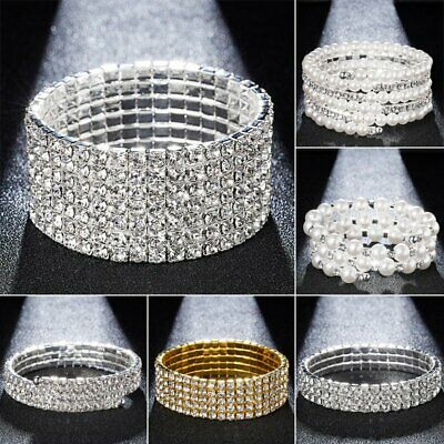 Chic Rhinestone Crystal Stretch Bracelet Bangle Wristband Wedding Bridal Party