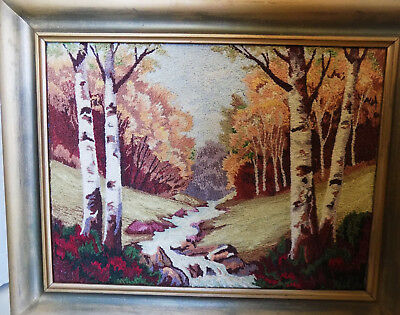 Vintage Framed White Birch Landscape Embroidered Scene Stream Woods
