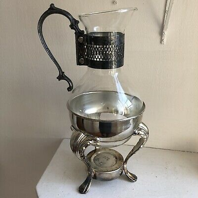 Corning 'heat-proof' Glass Pitcher W/ SIMPSON HALL Miller CO. SILVERPLATE Stand