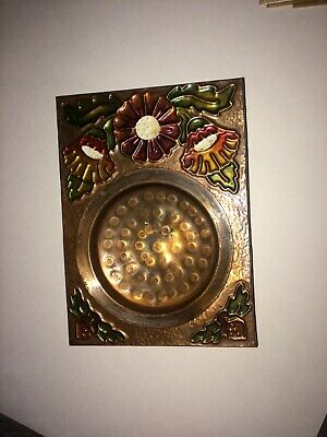 Arts and Craft Period Movement Hammered Copper AshTray Flowers 2 match boxes