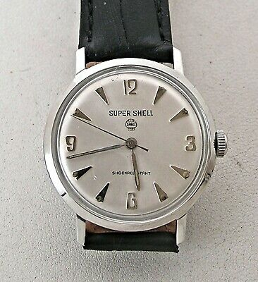 Stunning 1960's Super Shell Gasoline Men's Stainless Steel Advertising Watch 17J