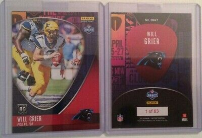 2019 Panini Instant Draft Night West Virginia WILL GRIER PANTHERS RC #/83 Made