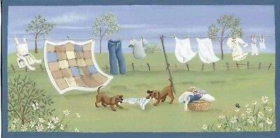 Country Primitive Wood dog puppy clothes spring Laundry Room wall Decor Sign