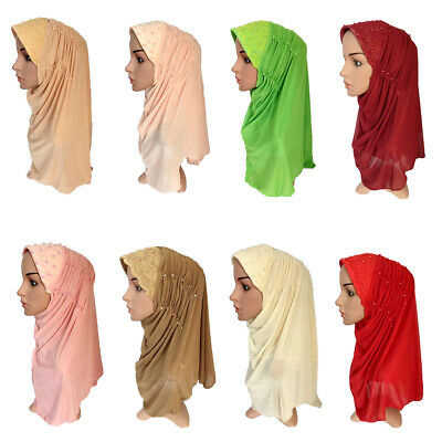 Islamic Shawl Amira Hijab Mesh Beaded Caps Women Muslim Hijab Scarf Headscarf
