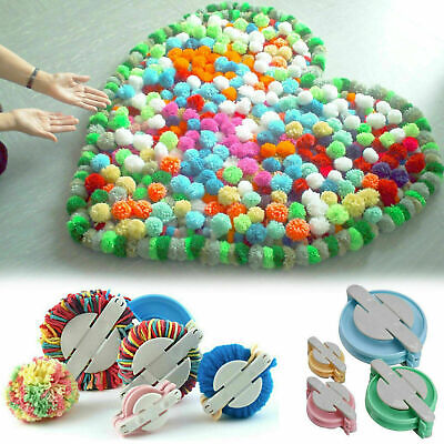 4 Sizes Pompon Set Plastic Pom Pom Maker Clover Fluff Ball Weaver Needle Random