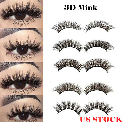 US 3D Natural False Eyelashes Long Thick Mixed Fake Lashes Makeup Mink 5 Pairs