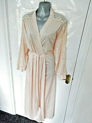❤ Vintage Baby Pink Silky Feel Wrap Dressing Gown Size 16 Lace Trim Pockets UK