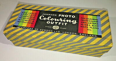 Vintage Johnsons Photo Colouring Outfit dyes, 9 bottles, 1950s (no paint!)