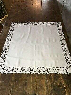 """Antique Hand Made Cutwork Lace White Linen Center Tablecloth 26"""" Square"""