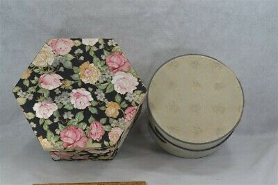 hat boxes octagonal round fabric paper cardboard 2  large vintage