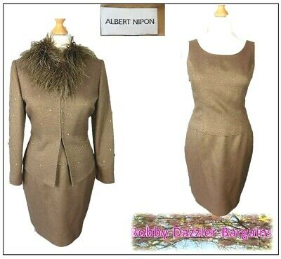 Albert Nipon BNWT Ladies 3 piece outfit size 10 Bronze feathers Embellished