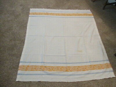 """VINTAGE WHITE LINEN DAMASK TABLECLOTH with BLUE YELLOW FLORAL BORDER 50"""" X 56"""""""