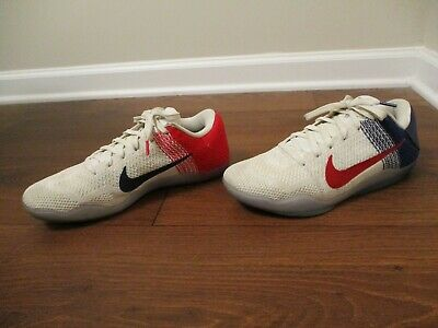 4249e2d5e126 Used Worn Size 9 Nike Kobe 11 Elite Low Shoes USA White Blue Red 822675-