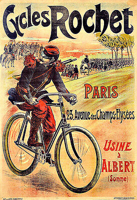 Art Ad Cycles Rochet   Bike Bicycle  Deco Poster Print