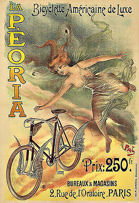 250gsm A3 Cycling Art Deco Poster 1930 METEORE BICYCLES France