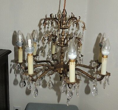 Vintage Spanish Brass 64 Czech Crystals Chandelier 8 Candlestick Lights 21""