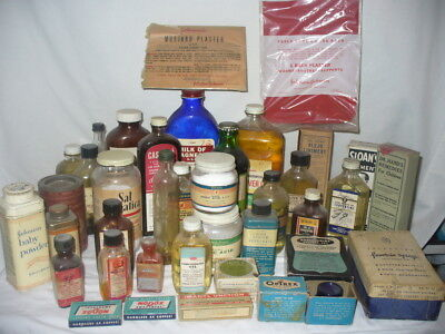 Vintage Medicine Bottles LOT OF 39 Apothecary Pharmacy Liniment Powder Tins Tube