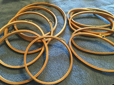 Lot (11) Wooden Embroidery Hoops - Oval / Round