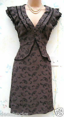ATMOSPHERE SIZE 8 40s WW2 VINTAGE STYLE PEPLUM OFFICE KHAKI BROWN TEA DRESS US 4