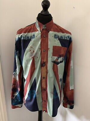 5a36b715f3a026 Pretty Green Large Men s Union Jack Shirt Very Rare Mod Liam Gallagher Indie