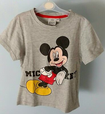 Original Disney Mickey Mouse Kids Childrens Grey Short Sleeve T-shirt Top Size6A